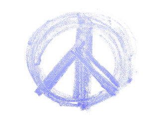 grunge peace sign , blue chalk isolated on white background