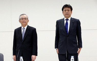 Tokyo Electric Power Co Holdings new chairman Takashi Kawamura and new president Tomoaki Kobayakawa attend their news conference in Tokyo