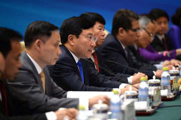 Vietnam's Deputy Prime Minister and Foreign Minister Pham Binh Minh, speaks during a bilateral conference with Chinese State Councilor Yang Jiechi, at Diaoyutai State Guesthouse in Beijing