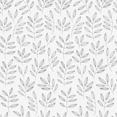 Floral seamless pattern, vector background with hand drawn leave