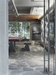 Dining room with stone floor