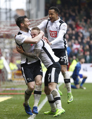 Derby's David Nugent (L) celebrates after he scores their second goal