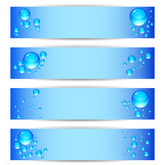 Set banners with clean water bubbles on a blue background.