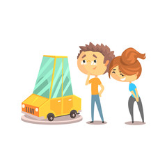 Couple buying car together. Colorful character vector Illustration