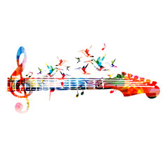 Music instrument background. Colorful guitar neck isolated vector illustration