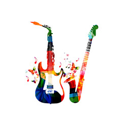 Music instruments background. Colorful saxophone and guitar isolated vector illustration