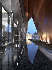 Reflecting pool along modern building