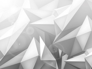 Volume geometric shape, 3d crystal gray background, triangles mosaic, abstraction low polygons wallpaper, vector design form for you presentation