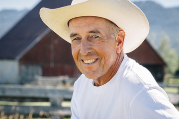 Portrait of smiling Caucasian farmer