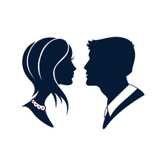 Beautiful silhouette cameo of a young couples. Vector logo or icon of a man and woman profiles.