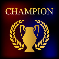 Vector image, champions cup in gold color on a dark background.