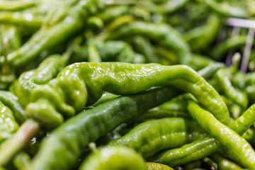 Canvas Prints Hot chili peppers Macro closeup of long green hot pepper