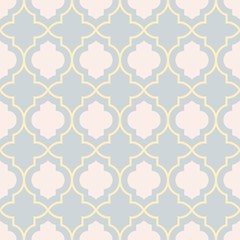 Gray and yellow traditional geometric quatrefoil trellis pattern wallpaper. Vector textile rug or carpet background.