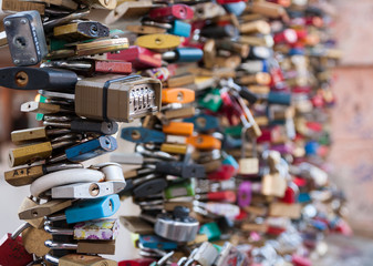 Love locks on a railing