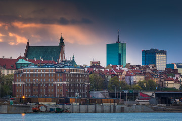 View of the Warsaw at sunset, Poland