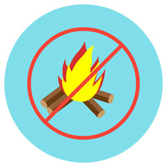 Icons bonfire crossed in a circle in a flat style. Vector image on a round colored background. Element of design, interface