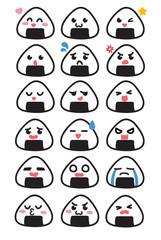 Cute Kawaii Japanese Onigiri Rice Ball Mascot Emoji with a Variety of Faces Including Happy, Sad, Angry, Surprised, and More