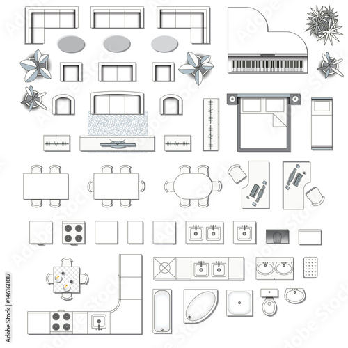 Quot Set Top View For Interior Icon Design Elements For