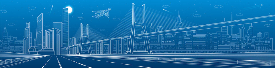 Infrastructure panorama. Large cable-stayed bridge. Airplane fly. Empty highway. Night modern city on background, towers and skyscrapers, urban scene, vector design art