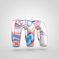 Glossy water marble alphabet letter M lowercase isolated on white background