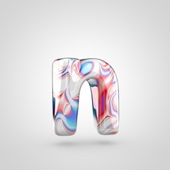 Glossy water marble alphabet letter N lowercase isolated on white background