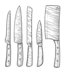 Knives illustration, drawing, engraving, ink, line art, vector