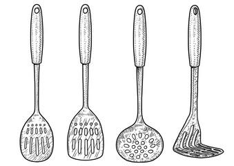 Spoon, masher illustration, drawing, engraving, ink, line art, vector