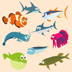 Vector illustration of set of sea creatures