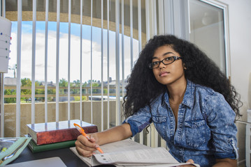 Portrait of Mixed Race teenage girl doing homework at desk