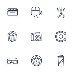 Set Of 9 Pleasure Outline Icons Set.Collection Of Dancing Man, Popcorn, Movie Cam And Other Elements.