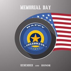 Memorial Day vector poster with label cut from paper, usa flag, shadow and text on the gradient gray background.