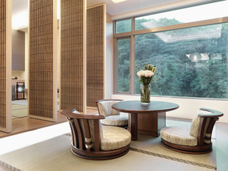 Contemporary asian dining room