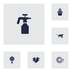 Set Of 6 Household Icons Set.Collection Of Garden Hose, Latex, Garden And Other Elements.