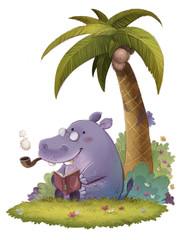 hipopotamo leyendo un libro