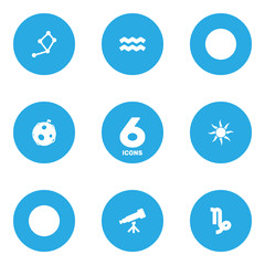 Set Of 6 Galaxy Icons Set.Collection Of Lunar, Horoscope, Binoculars And Other Elements.
