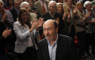 Rubalcaba arrives to announce his candidacy to succeed former Spanish Prime Minister Jose Luis Rodriguez Zapatero as the party's Secretary General in Madrid
