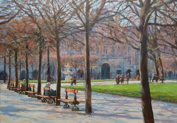 A small park in the center of paris.oil painting