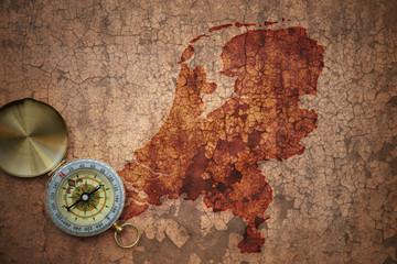 map of netherlands on a old vintage crack paper
