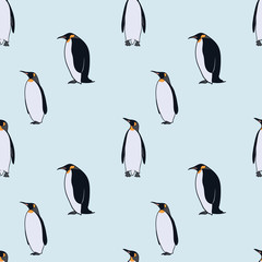 Colorful Drawing Arctic Fauna Seamless Pattern