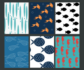 Set of seamless pattern with fishes. Vector illustration.