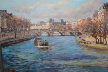 View from the bridge over the Seine river  in Paris,oil painting