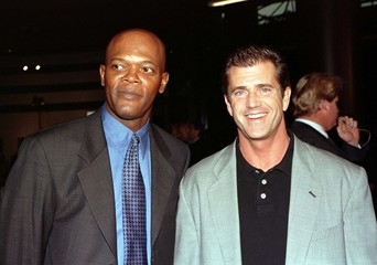 """Samuel L. Jackson, (L) star of the new dramatic thriller film """"187"""" poses with fellow actor Mel Gibs.."""