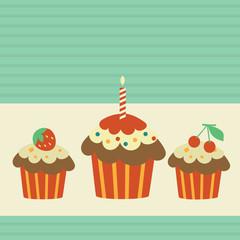 Retro card with cupcakes.