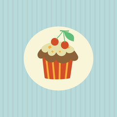 Retro card with cupcake.