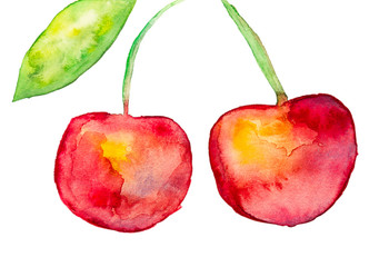 Beautiful tasty red cherries with leave and stem watercolor. Hand drawn.