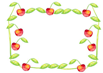 Beautiful watercolor frame with tasty red cherries, leaves and stem. Hand drawn. Illustration.