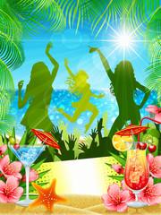 Tropical beach party flyer