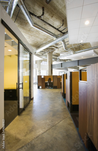 Interior Of A Modern Office Space With Cubicles