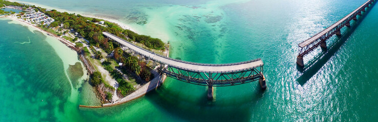 Bahia Honda Bridge panoramic aerial view on Overseas Highway - Florida