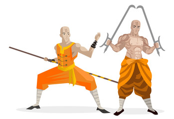 two bald shaolin monks warriors training with bo staff and twin hooks swords